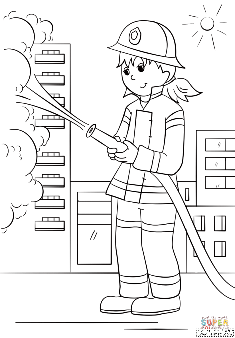 female firefighter coloring pages - photo#15